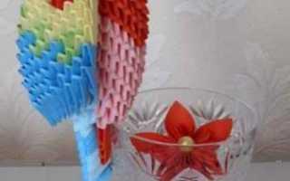 Попугай из модульного оригами. Модульное оригами. Попугай. Попугай оригами в классической технике
