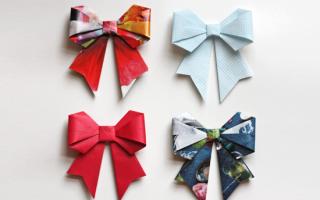 Из бумаги схема складывания. Оригами бантик из бумаги своими руками. Фото, видео