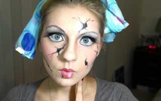 Детский макияж на хэллоуин. Макияж разбитой куклы на Хэллоуин. Черт из табакерки