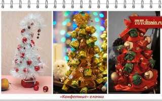 Новогодняя елка своими руками из конфет и дождика. Елка из конфет своими руками