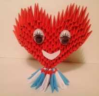 Оригами из модулей схемы день влюбленных. Категория Схемы. Большое сердечко из двух деталей