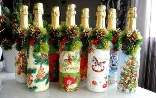 Новогодняя бутылка шампанского из гофробумаги. Как оригинально украсить новогоднее шампанское