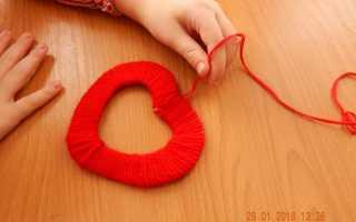 Сердечко из ниток и картона. Сердечко из ниток на подставке. Необходимые материалы и инструменты