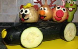 Осенние поделки из фруктов и овощей: машина со Смешариками. Осенние поделки из овощей