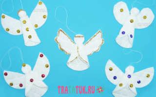 Рождественские ангелочки из ватных дисков. Ангел из ватных дисков поэтапно. Ёлка из ватных дисков