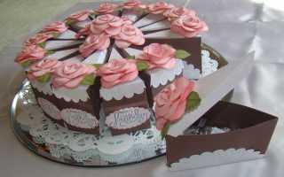 Выкройка кусочка торта из бумаги. Как сделать торт из картона. Мастер — класс с фото