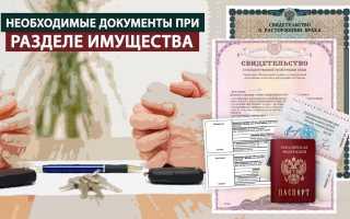 Подача иска о разделе имущества: нюансы процедуры. Документы на раздел имущества