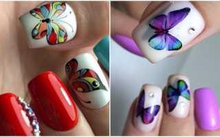 Белый френч с бабочками. Маникюр с бабочками на коротких и длинных ногтях. Материалы и инструменты